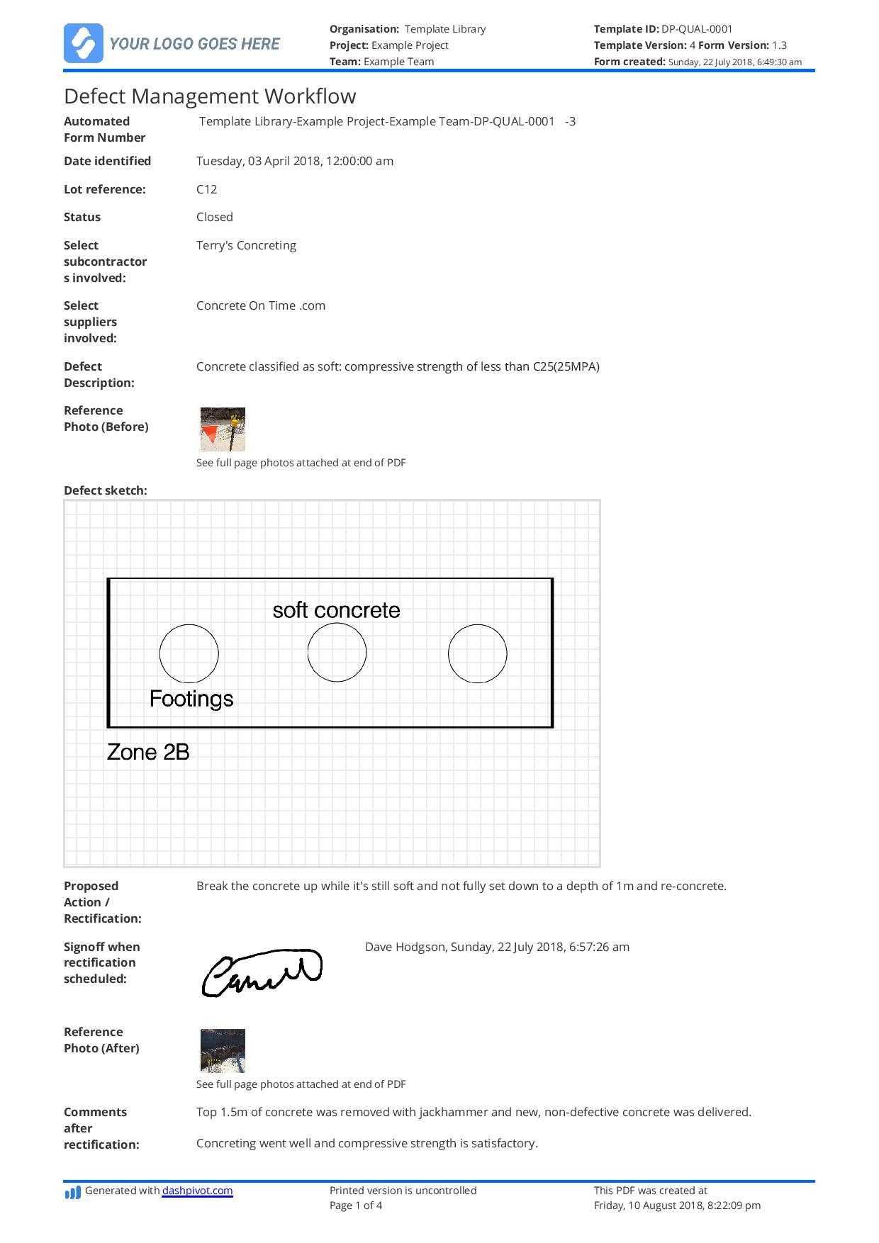 Fault Report Template Word - Sample Design Templates