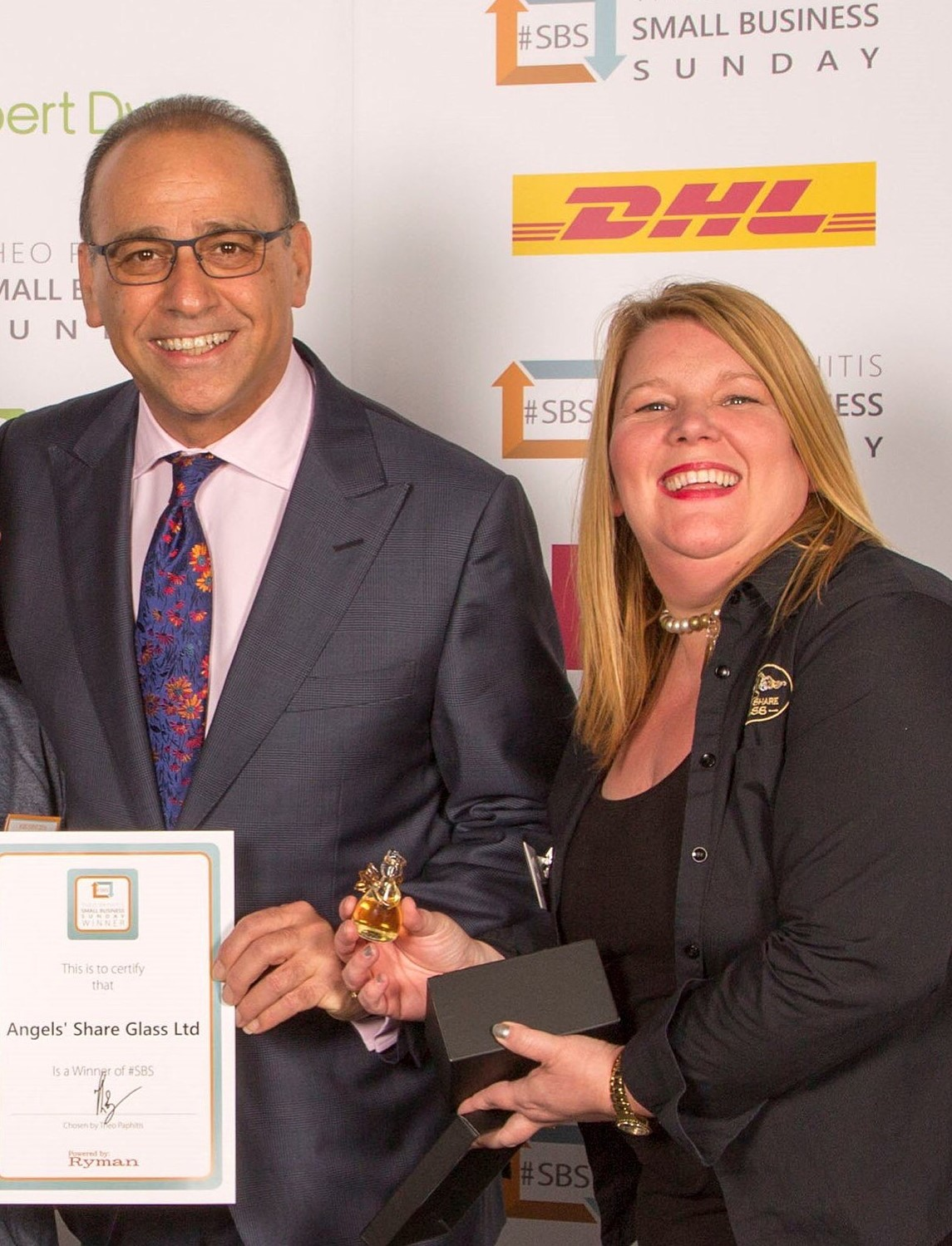 Karen Somerville with Theo Paphitis