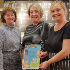 Getting Ready for The Halloween Trail – Go Forth Stirling Manager Mags Fenner with Irene Williams and Leanne Wilson who run The Pend Cafe (left to right)
