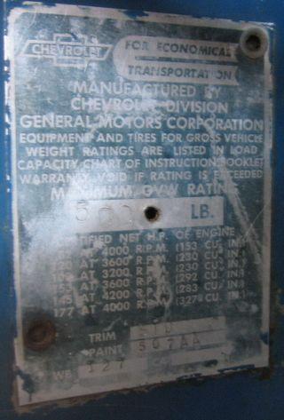 Wiring Harness Restoration Data Plate 1965 Chevrolet C10 Matraca 1965 Chevrolet