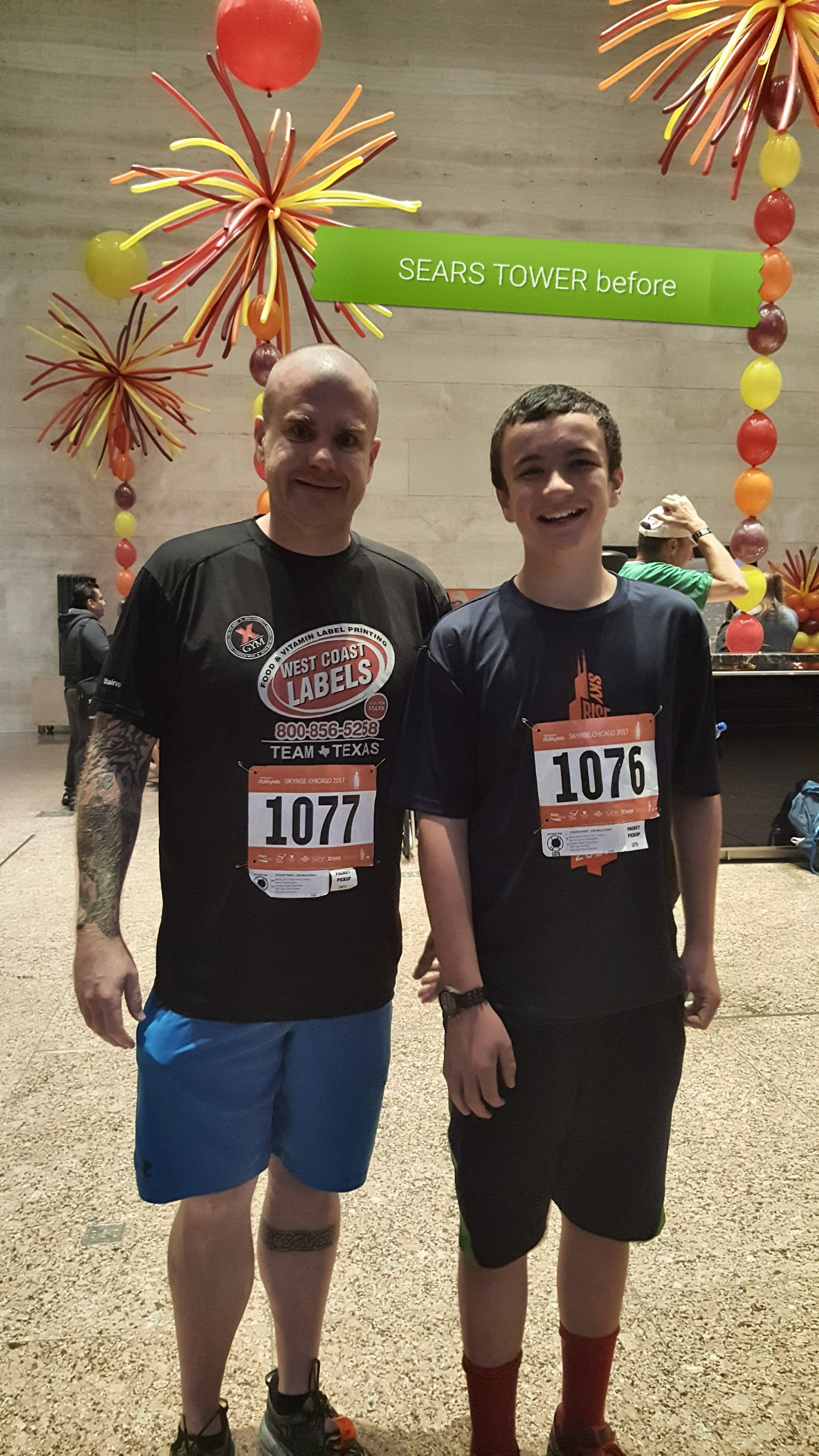 image of steve and lil man before the climb at Sears Tower 2017