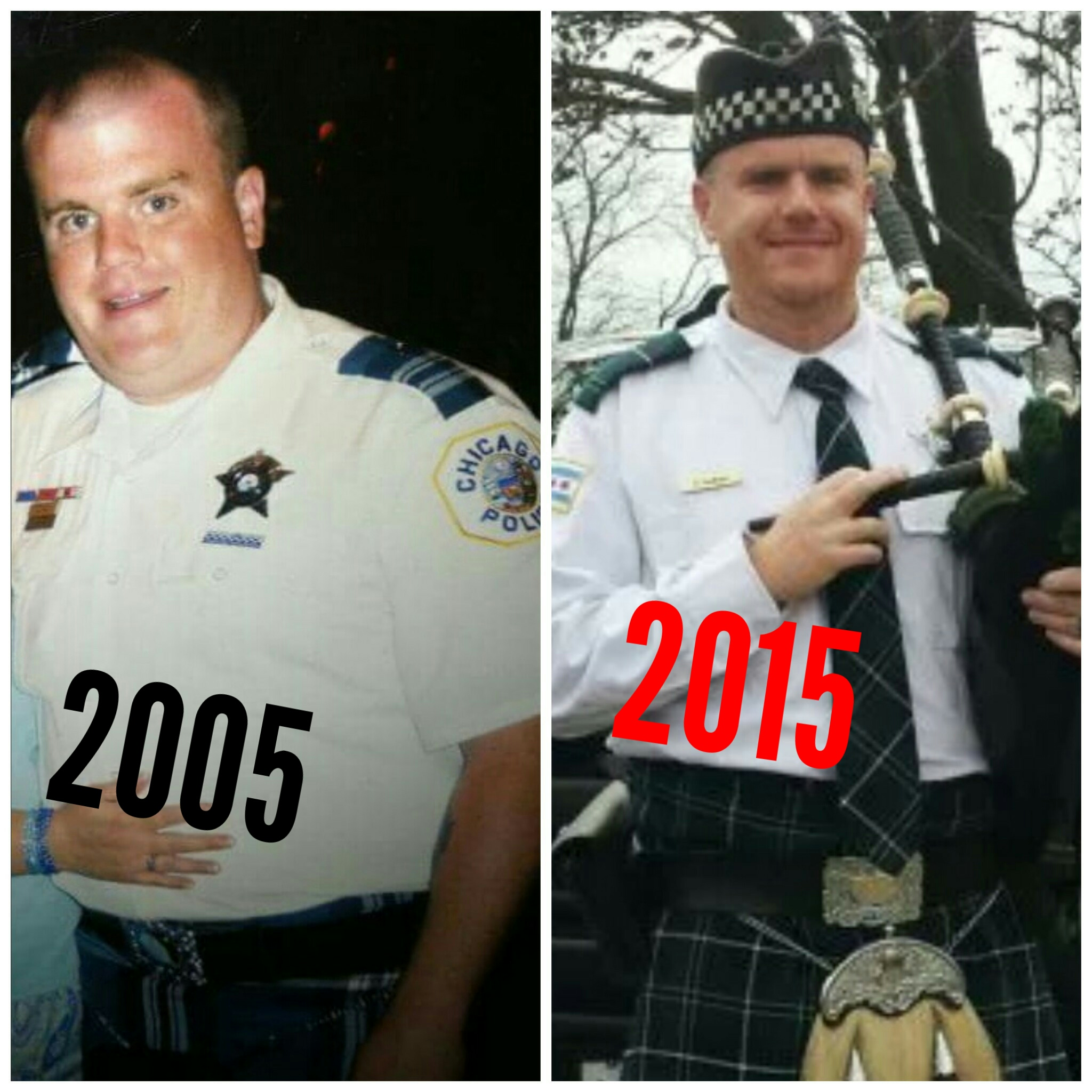 2 images of steve before and after --- him heavy, and 10 years later he's lighter
