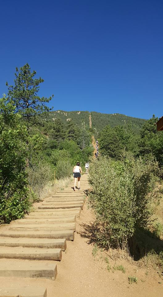 image of someone climbing mountain steps at Manitou Inline Colorado June2018
