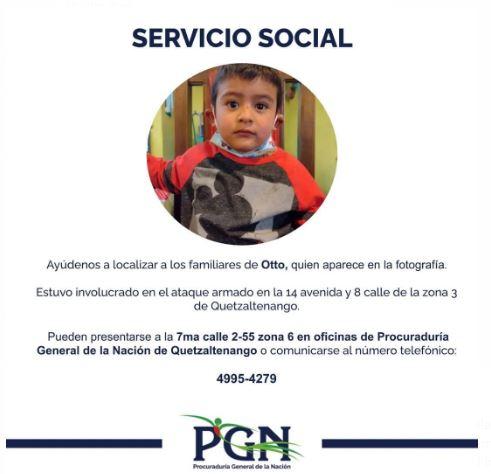 PGN pide apoyo para localizar a familiares de niño hallado en ataque armado