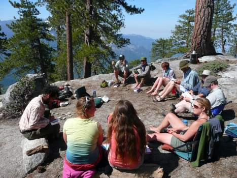 Students resting in a circle