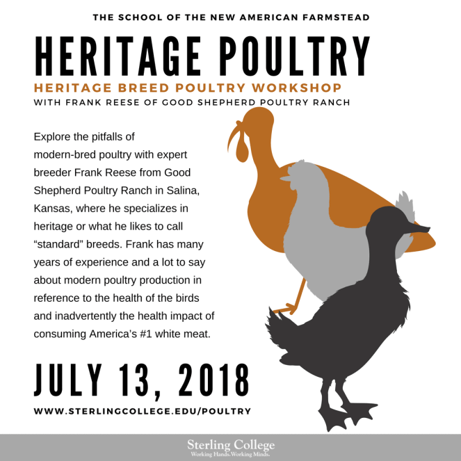 Flyer for the Heritage Poultry course