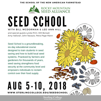 Poster for the School of the New American Farmstead Seed School