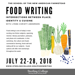 Flyer for the Food Writing course, featuring Lynne Christy Anderson