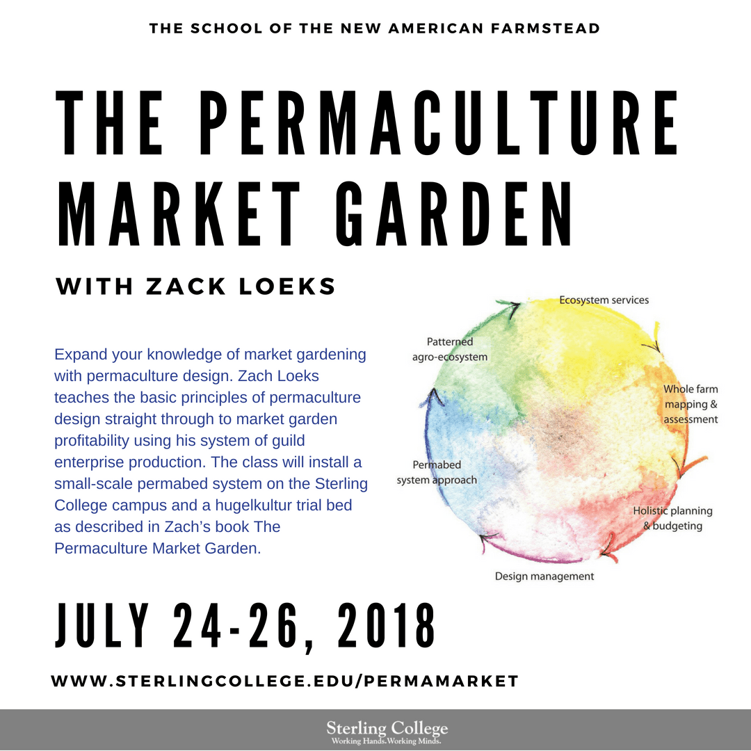 flyer for the Permaculture Market Garden course with Zach Loeks