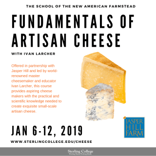 flyer for Fundamentals of Artisan Cheese, January course