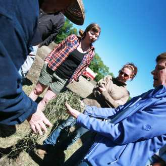 photo of students in the Sterling College Whole Farm Thinking course exploring and analyzing a Vermont farm.