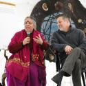 Dr. Vandana Shiva sits next to President Matthew Derr at the Poison Free Future Tour