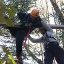 Two students wearing helmets and harnesses on a challenge course element. Trees in background.