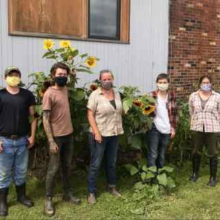 Core Farm Crew, masked up. Left to Right: Liam Crannell, Gray Hunter, Gwyneth Harris, Kali Spacek, and Azsa Greiner.