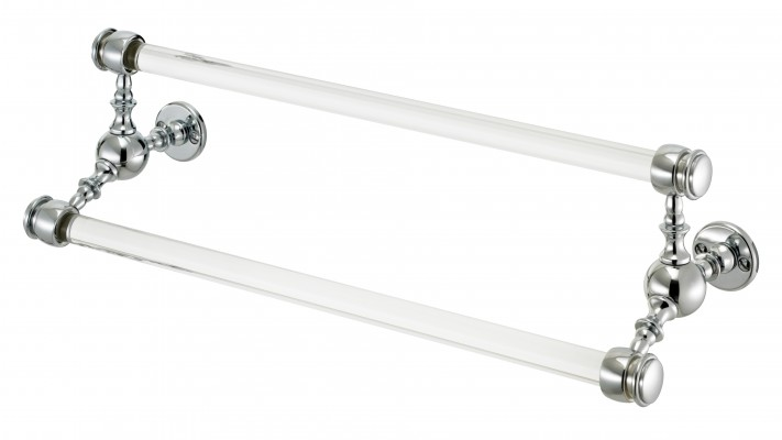 double towel bar with glass rails