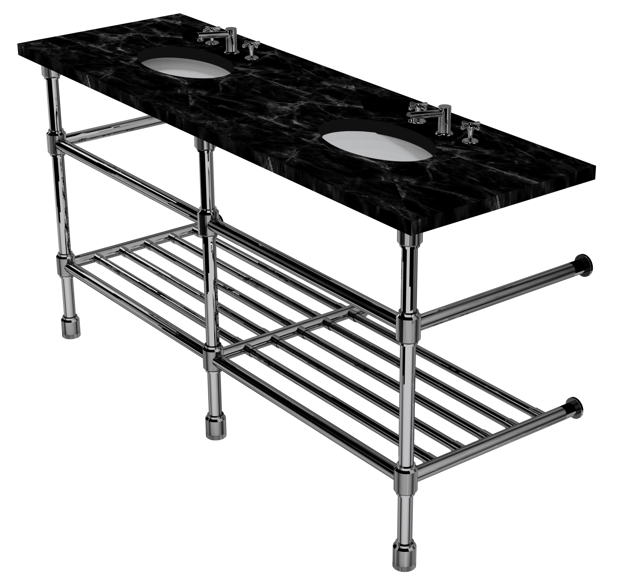 Industrial Three Leg Washstand With Rack