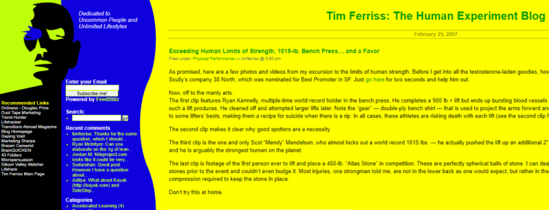 The Original Blog Of Tim Ferriss