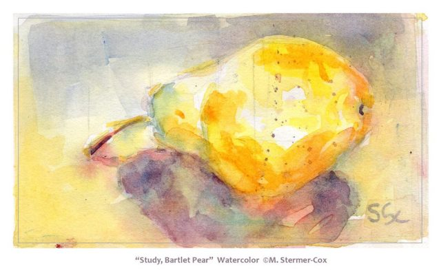 Watercolor Studies: A Pear and its shadow