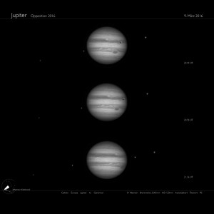 Der Jupiter mit Monden am 9.3.2016