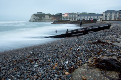 The pebbled beach at Freshwater Bay