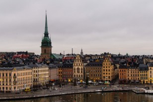 A view from our hotel room of Old Town Stockholm during the day. (watch for the night photo's)