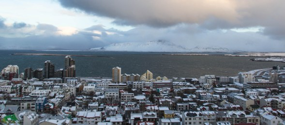 North of the city is Esjan (volcanic mountain ranges) and the Esja peninsula (above). Also taken from the tower of Hallgrímskirkja
