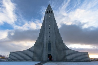 Rocket Ship to God? The Lutheran Church called Hallgrímskirkja in the centre and overlooking Reykjavik.