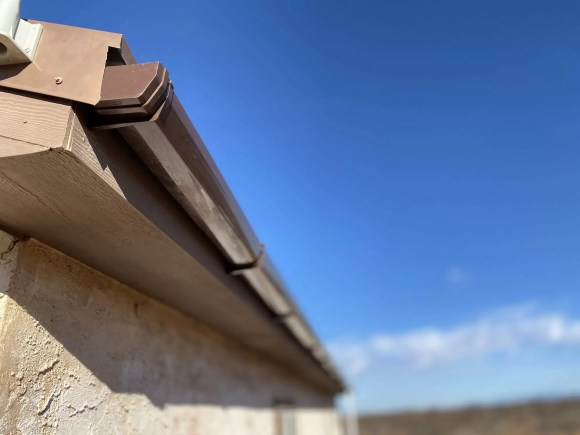 Rain catchment gutter on back of house