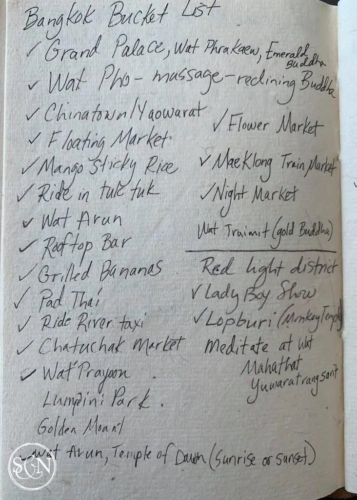 Create a bucket list for travel activities! My Bangkok Bucket List!
