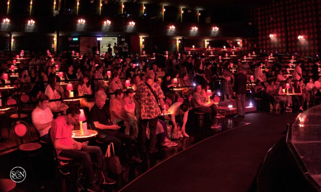 The seating section filling up with spectators at the Calypso