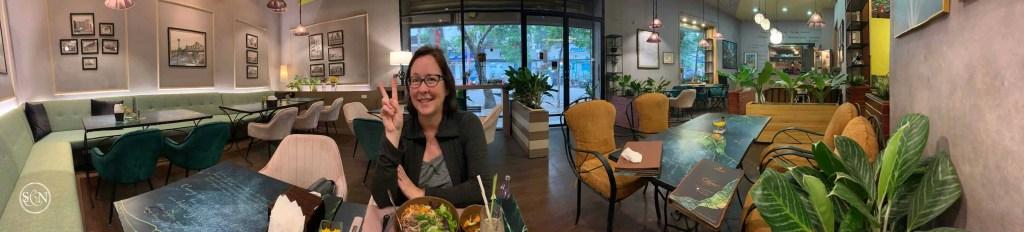 Noelle in a empty restaurant in Hanoi during the CoronaVirus