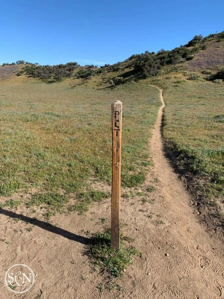 Wooden PCT trail marker