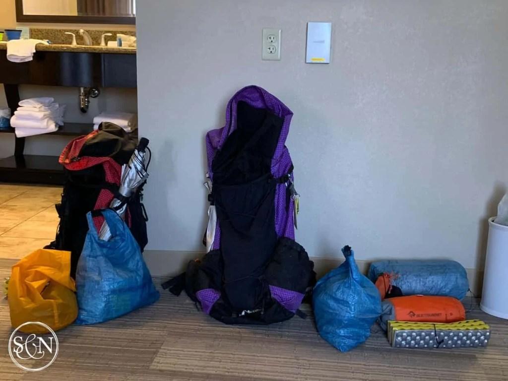 Backpacks waiting to go again