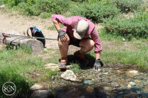 Washing in a creek along the PCT