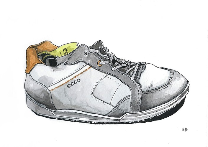 ecco-shoe-ink-watercolour-stevebeadleart