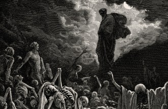 """Engraving of """"The Vision of The Valley of The Dry Bones"""" by Gustave Doré"""