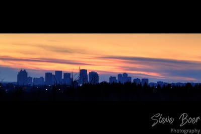 Edmonton skyline sunrise