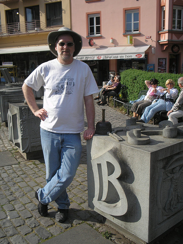 I posed by my initial at the Gutenberg Museum in Mainz, Germany, in April 2007.