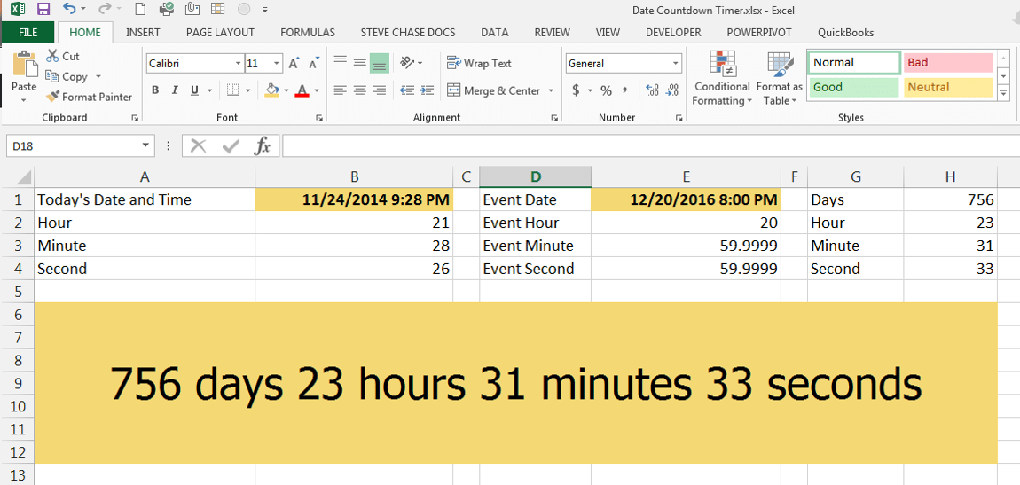 Create a Countdown Timer With Dates in Excel | Steve Chase Docs