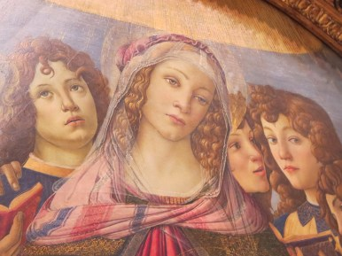 "Florence: Galleria degli Uffizi. Botticelli, ""Madonna and Cjild with six angels."" ""Madonna of the Pomegranate."""