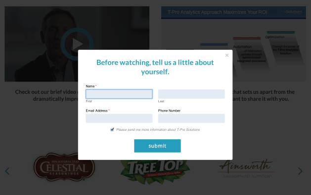 A lead-capture form shown before users can view private videos