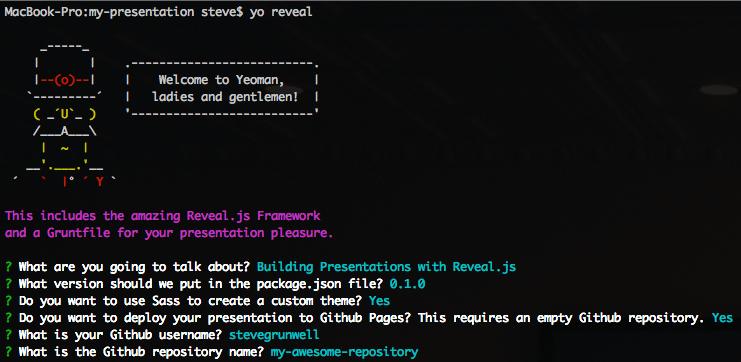 Generating a new Reveal.js presentation using a Yeoman generator