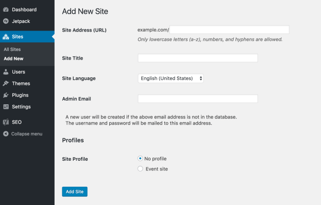 "The WordPress Network Admin ""Add a new site"" screen, with a new ""Profiles"" section appended with choices for ""No profile"" and ""Event site"""