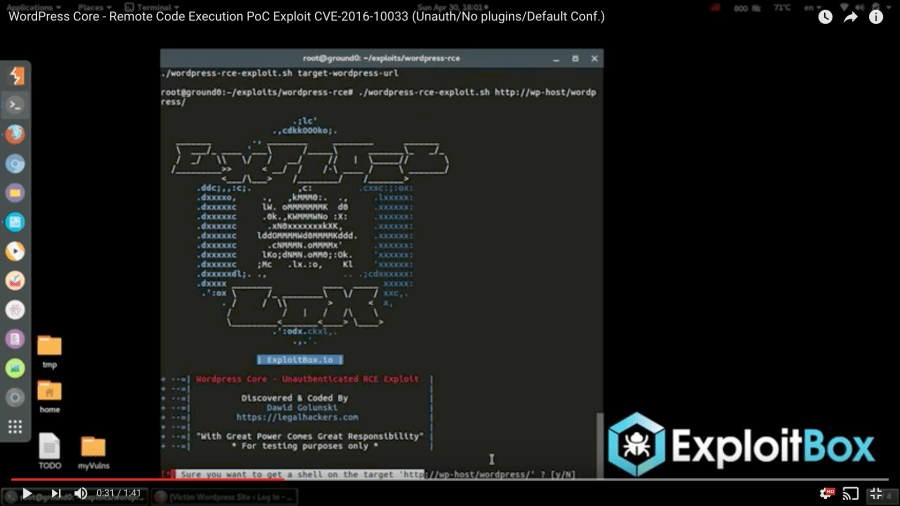 Screenshot from ExploitBox's CVE-2016-10033 video