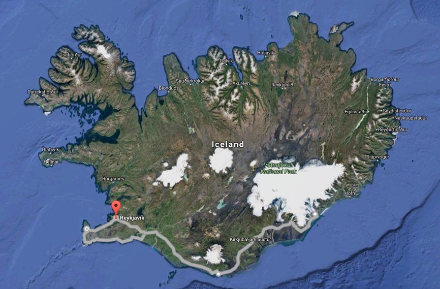 "A driving route along the south end of Iceland, east to the glaciers, then around the north end of the ""Golden Circle""."