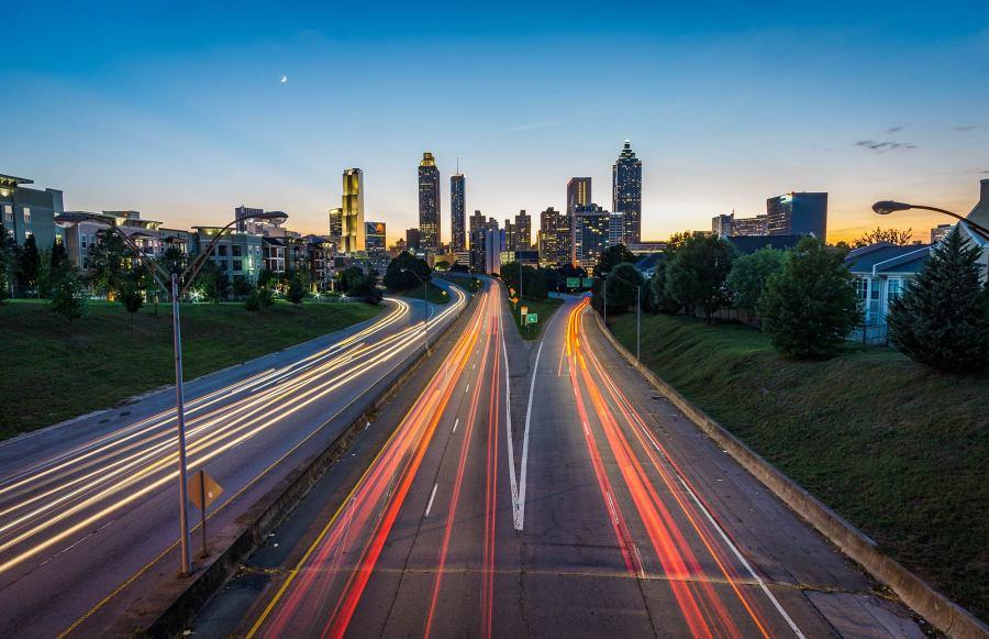 The Atlanta skyline, taken from the Jackson Street Bridge.