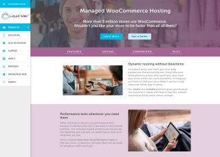 Screenshot of the Liquid Web Managed WooCommerce Hosting page
