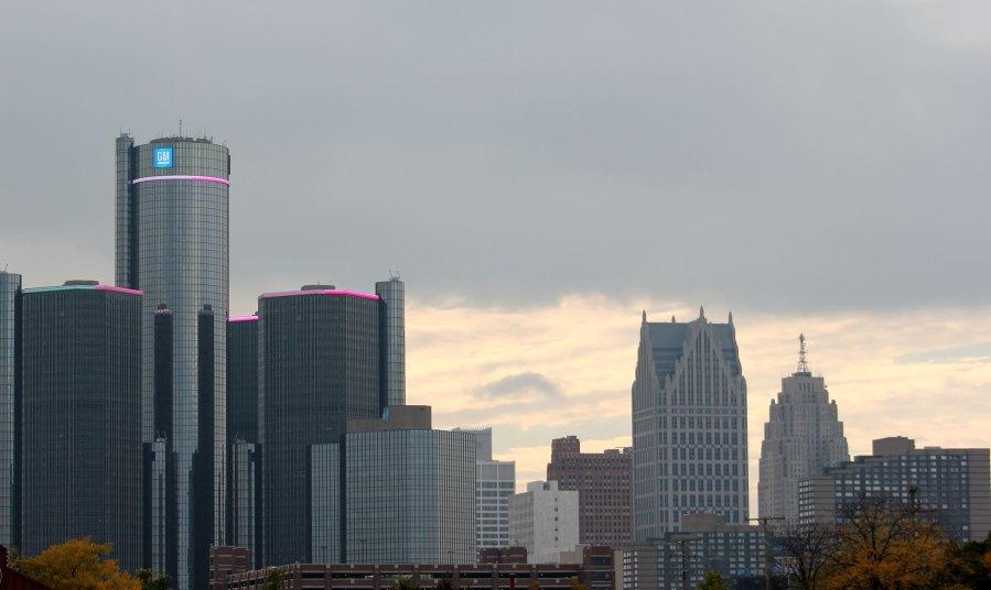 The skyline of Detroit, Michigan