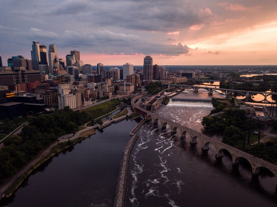 An aerial view of the Minneapolis, Minnesota skyline