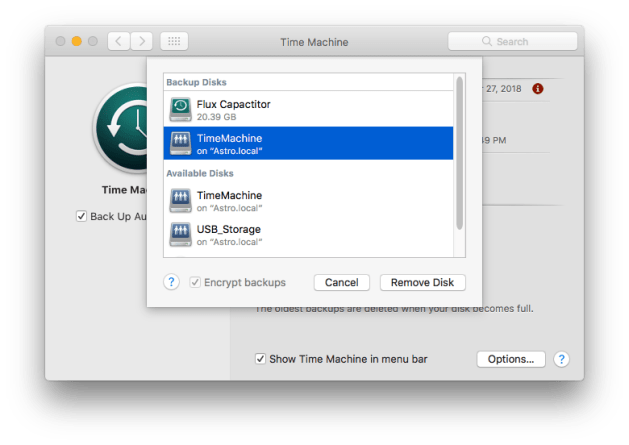 """The """"Add or Remove Backup Disks"""" screen from Apple's Time Machine preference pane"""